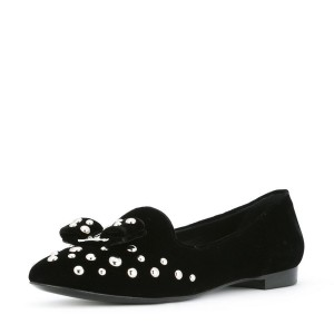 Black Studs Shoes Suede Round Toe Bow Flats by FSJ