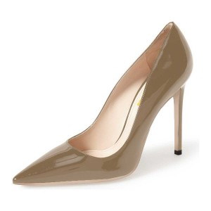 Doris Brown Pointy Toe  Patent Leather Low-cut Stiletto Heel Pumps