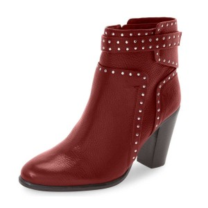 Red Textured Vegan Boots Round Toe Chunky Heel Studs Shoes