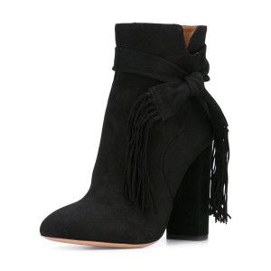 Black Vintage Shoes Chunky Heels Ankle Booties with Tassels for Women