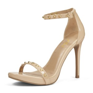 Nude Golden Studs Patent Leather Open Toe Stiletto Heel  Sandals