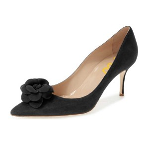 Black Office Heels Suede Floral Stiletto Heels Dress Pumps by FSJ