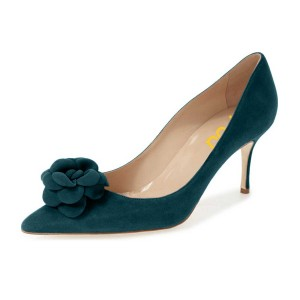 Dark Green Suede Shoes Pointy Toe Stiletto Heel Pumps with Flower