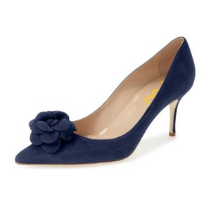 Suede Flowers Navy Blue Heels Pointy Toe Kitten Heel Pumps for Women