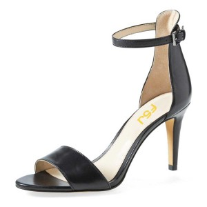 Women's Black Open Toe Stiletto Heels Ankle Strap Sandals