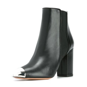 Black Women's Dress Boots Silver Metal Toe Chunky Heel Chelsea Boots