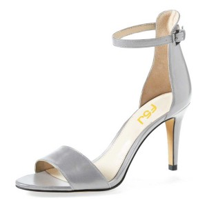 Silver Ankle Strap Sandals Open Toe Stiletto Heels for Women