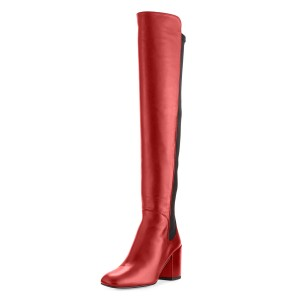 Red Square Toe Boots Block Heel Over-the-Knee Long Boots