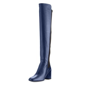 Navy Long Boots Square Toe Block Heels Over-the-knee Boots