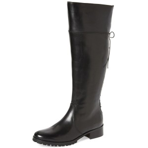 Black Fashion Boots Round Toe Flat Riding Boots