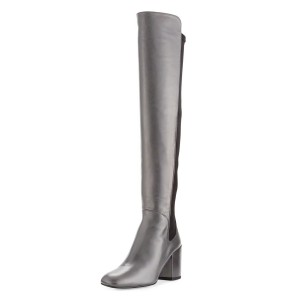 Grey Chunky Heel Boots Square Toe Knee-high Boots for Ladies