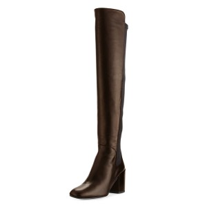 Women's Chunky Heels Chocolate Slip-on Square Toe Over-the-Knee Boots