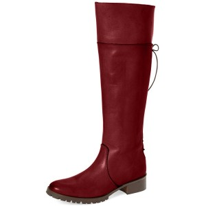 Burgundy Comfortable Shoes Round Toe Knee-high Boots