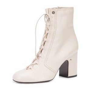 2017 Fall Ivory Chunky Heel Boots Lace up Round Toe Ankle Boots
