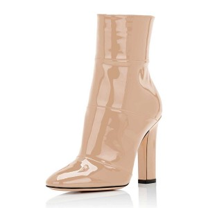 Nude Chunky Heel Boots Pointy Toe Patent Leather Short Ankle Boots