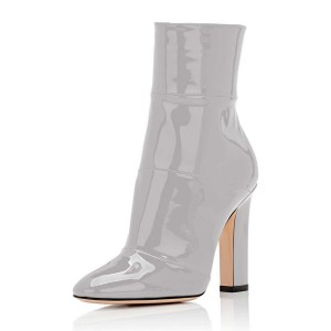 Women's Grey Patent-leather Chunky Heel Boots Short Ankle Booties