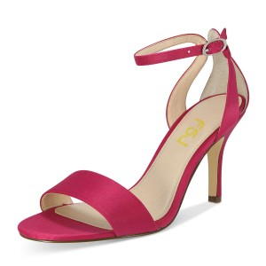 Coral Red Satin Ankle Strap Open Toe Stiletto Heel Sandals