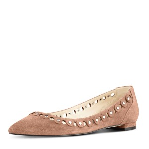 Doris Brown Silver Studs Embellishment Flats