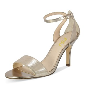 Champagne Mirror Leather Ankle Strap Open Toe Stiletto Heel Sandals
