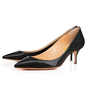 Black Kitten Heels Pointy Toe Patent Leather Office Heels by FSJ