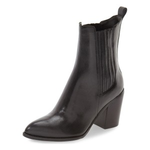 Black Chunky Heel Boots Pointy Toe Commuting Chelsea Boots