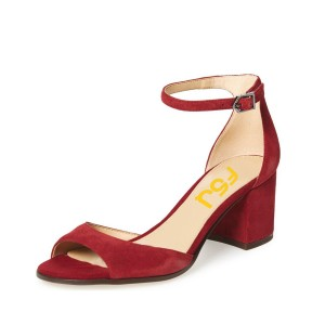 Women's Red Soft Suede Chunky Heel Sandals