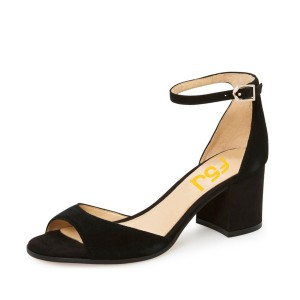 Women's Black Soft Suede Ankle Strappy Chunky Heel Sandals