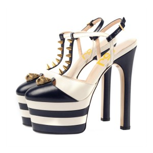Women's Black and White Rivets T-Strap Platform Slingback Shoes