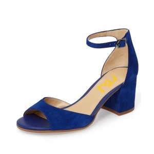 Women's Navy Soft Suede Ankle Strappy Sandals