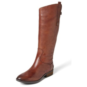 Maroon Inclined Side Buckle Boots