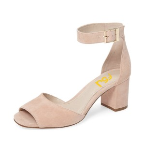 Women's Beige Soft Suede Ankle Strappy Sandals