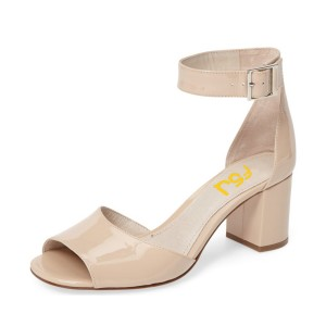Nude Block Heel Sandals Ankle Strap Patent Leather Shoes