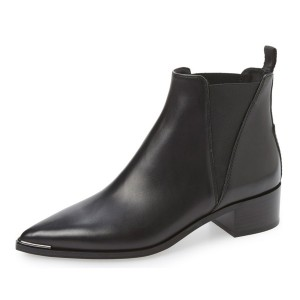 Black Chunky Heel Boots Pointy Toe Slip-on Ankle Boots for Work