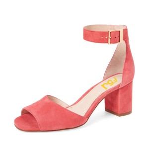 Pink Block Heel Sandals Ankle Strap Suede Sandals