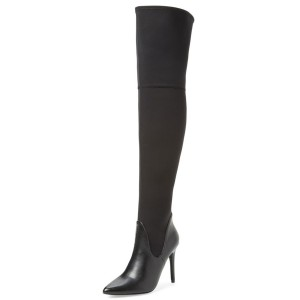 Black Long Boots Stiletto Heel Pointy Toe Thigh-high Boots