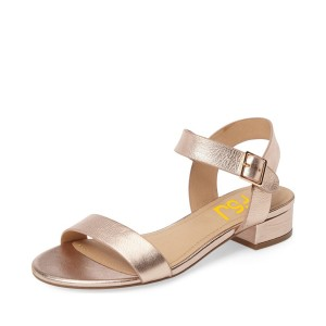 Women's Golden Leather Sling Back Chunky Heel Sandals