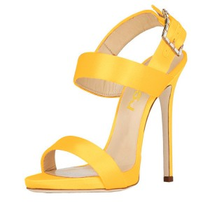 Yellow Slingback Heels Satin Open Toe Stiletto Heels Sandals