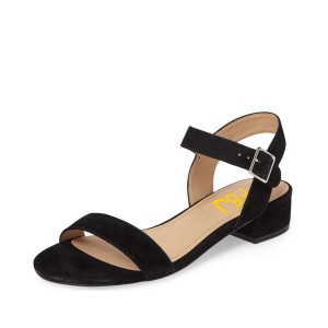 Women's Black Soft Suede Ankle Strap Chunky Heel Sandals