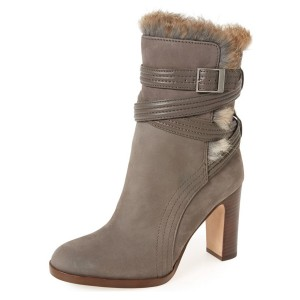 Light Brown Fur Boots Strappy Chunky Heels for Winter