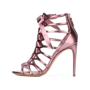 Women's Pink Mirror Leather Bow Hollow out Stiletto Heel Gladiator Sandals