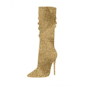Golden Slouch Boots Pointed toe Strass Stiletto Booties