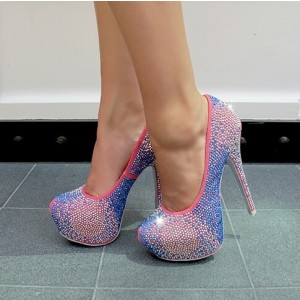 Women's Blue and Pink Dazzling Almond Toe Pumps Stiletto Heels Shoes