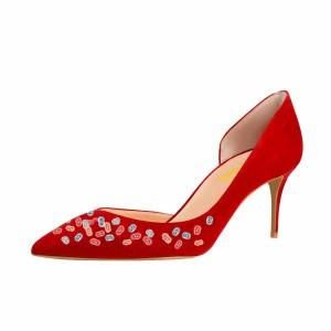 Women's Red Colorful 8 Print Pointy Toe Stiletto Heels Suede D'orsay Pumps