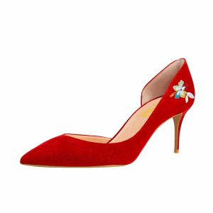 Women's Red Flora Print Pointy Toe Stiletto Heels Suede D'orsay Pumps