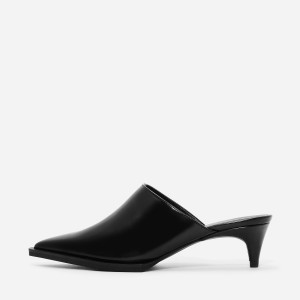 Black Pointy Toe Kitten Heels Mule for Women