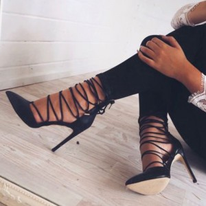 Black Suede Sexy Fashion Stiletto Heels Pointy Toe Strappy Pumps