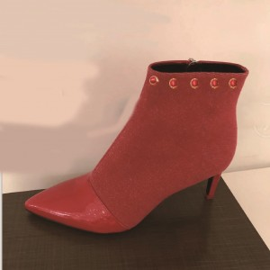 Red Stiletto Boots Pointy Toe Ankle Boots