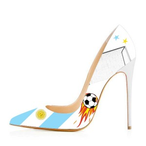 Argentina Design Pointy Toe Stiletto Heels Pumps for Football Lover