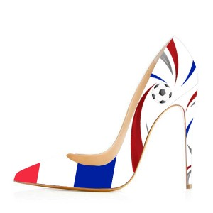 2019 Football Lover France Printed Design Stiletto Heels Pumps