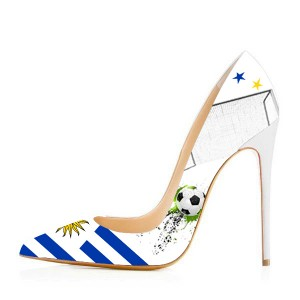 2019 Football Lover Uruguay Design Pointy Toe Stiletto Heels Pumps